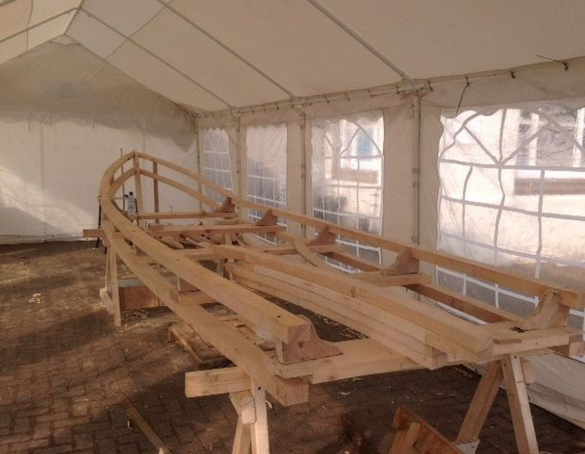 THE Currach, a Celtic Longboat which is being built in Minehead this week is starting to take shape. PHOTO: Stephen Hoo