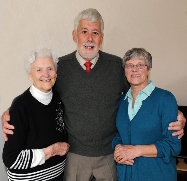 Double celebration - Sheila Bourner with her son Peter and his wife Brenda.