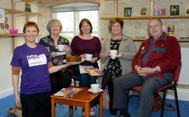 AT the coffee morning, from left, are: Simone Joyce, Wendy Hamley, Charlotte Murphy, Una Lynch and Graham Hamley.