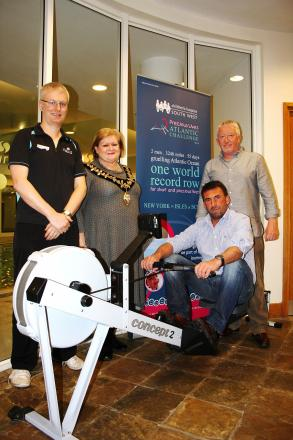 Rowers Chris 'Darby' Walters, right, and Elliot Dale, seated, with Spirit Health Club mnagager Mark Harrison and Taunton Deane Mayor Cllr Libby Lisgo.