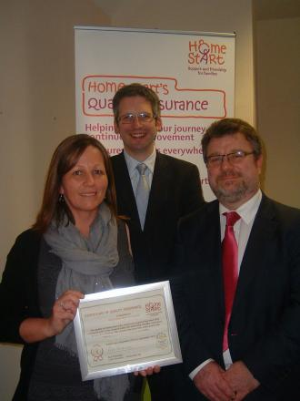 ALI Sanderson, manager of Home-Start West Somerset with Rob Parkinson, chief executive of Home-Start UK and Tony Pino, partnership development manager, Charity Commission. PHOTO: Submitted.