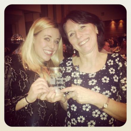 HANNAH Wright with aunt Sally Everleigh, of Toucan in Minehead, with Sally's award. PHOTO: Submitted.