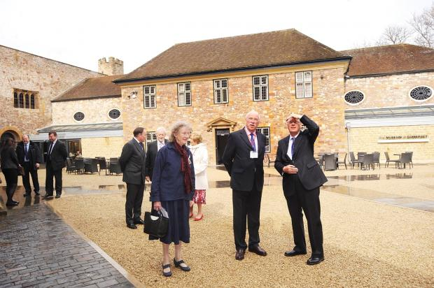 The Duke looks round the courtyard outside Castle House.