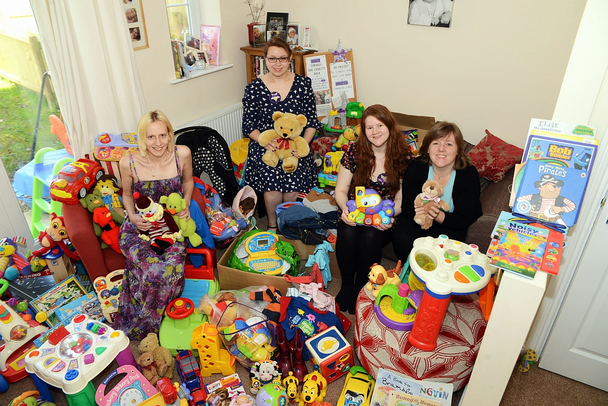 Laura Hardy, Karla Tadgell, Alice Burns and Clare Merchant, who are providing toys for struggling families.