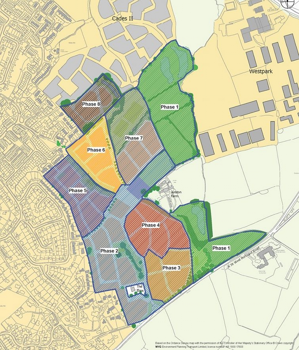 A map outlining where the homes and facilities could be built as part of the Jurston development.