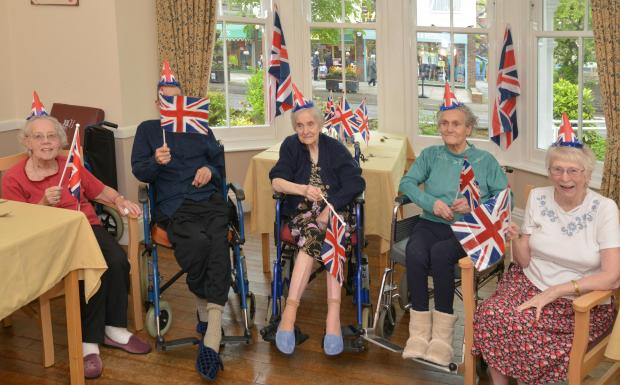 DOROTHY Lee, Brian Evans, Winnie Pike, Joyce Slade and Beatrice Amor mark VE Day. PHOTO: Somerset Photo News.