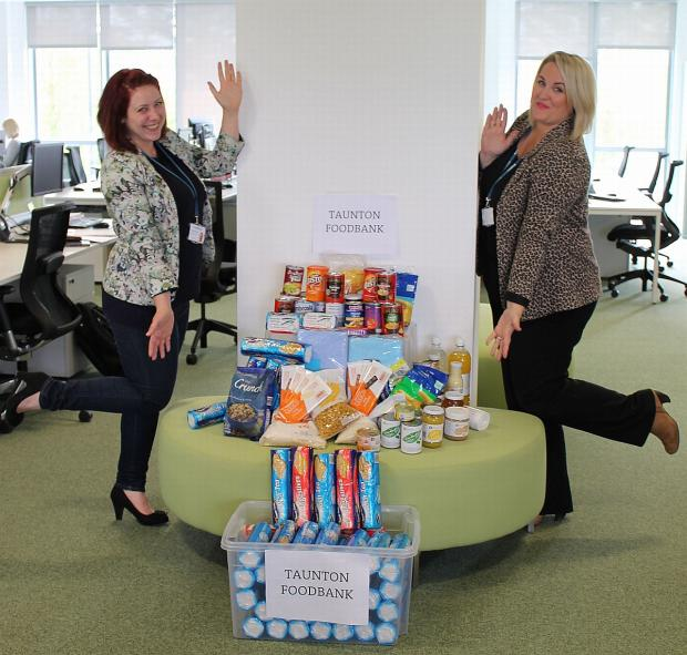 Somerset County Gazette: Taunton Food Bank stocked up thanks to generous Knightstone Housing donation