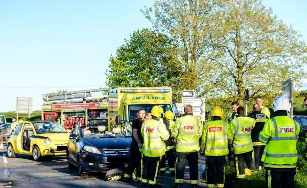 THE scene of the three-vehicle collision near Williton on Tuesday (May 13). PHOTO: Clayton Jane.