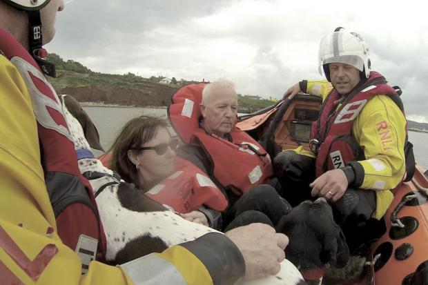 MINEHEAD'S volunteer RNLI crew rescued a stranded couple and their dogs from Hampshire on Sunday (May 25). PHOTO: Submitted.