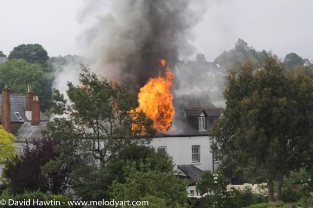 THE house fire in Porlock on Friday spread to the adjoining property. PHOTO: David Hawtin.