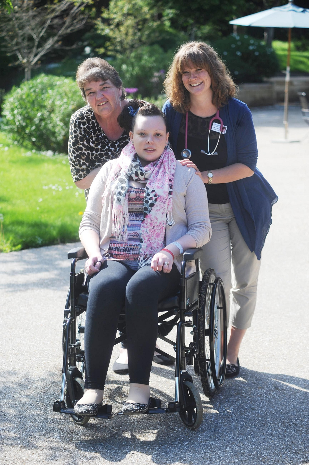 Natalie Sears, centre, with mum Patricia Upton, left, and Dr Meg Rowlands at St Margaret's Hospice.