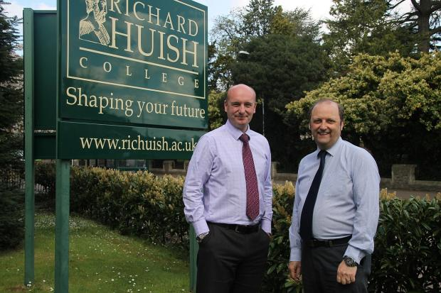 Richard Huish College principal John Abbott and chair of governors Guy Adams.