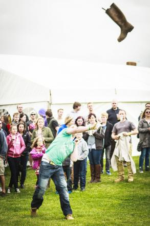 WELLY wanging is among the attractions lined up for the Cheese, Cider and Moozic Fest' at Cricketer Farm. Photo: Bryan Farrell www.bryanfarrell.co.uk