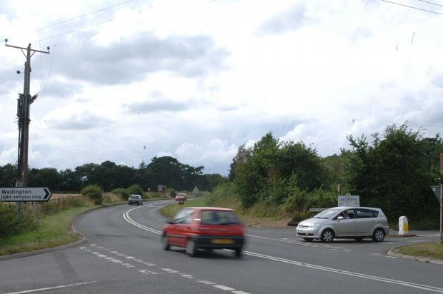 The A38 Wellington bypass, with Pyles Thorne Road on the right and Ford Street on the left.