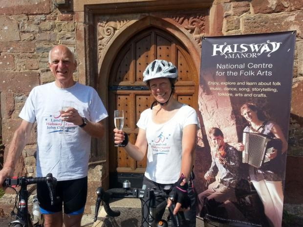 ROBIN Williams, chairman of Halsway Manor and his wife Marian, who are cycling from Lands End to John O'Groats. PHOTO: Paul James.