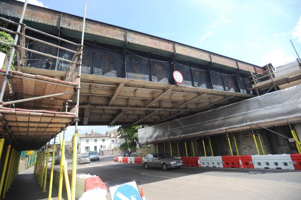 Scaffolding constructed under the bridge.