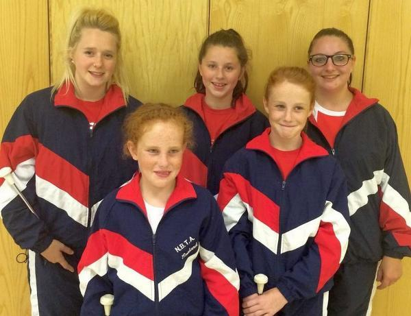 Pictured, back, Alice Northcote-Brewer, Hayley Stanford and Kimberley Pollard; front, Alicia and Chloe Gifford.