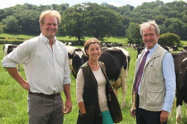 Farmer Rodney Down with Rebecca Pow and Owen Paterson.