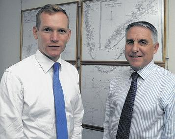 JEREMY Browne meets Ian Moncrieff at the UK Hydrographic Office. PHOTO: Geoff Roberts