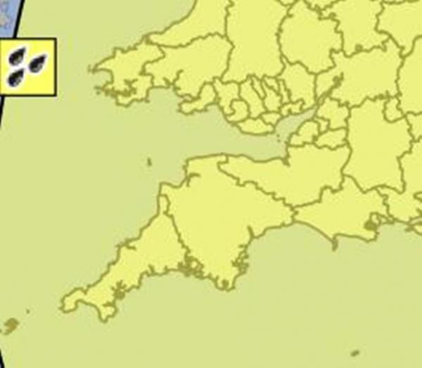 A YELLOW warning has been issued for England's South West. IMAGE: Met Office.
