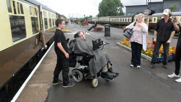 PROFESSOR Stephen Hawking took a trip on a new modified carriage of the West Somerset Railway. PHOTO: Submitted.