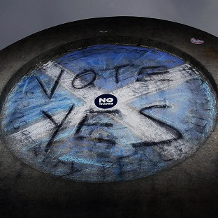 A wall in Princes Street Gardens in Edinburgh, as the independence referendum campaign continues