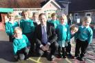 WIVELISCOMBE Primary School's new headteacher Steve Duncan with pupils. PHOTO: Steve Richardson.
