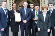 STAFF and students at Taunton School celebrating its International Baccalaureate accolade.