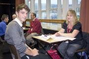 CONNOR Walsh practicing his interviewing skills by Mrs Sweetland in preparation for life after school.