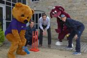 BARRY the bibic bear, Somerset player, Adam Dibble, bibic Interim CEO and Family Services manager, Jon Shoesmith, Somerset County Cricket Club mascot, Stumpy and Somerset cricketer Max Waller.