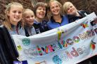 WIVELSICOMBE guides from left, Danielle, Lottie, Jane Hewitt (leader), Catherine Shackleton (leader) and Freya