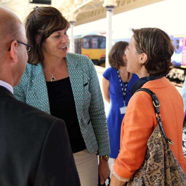 Taunton Deane MP Rebecca Pow with Rail Minister Claire Perry.