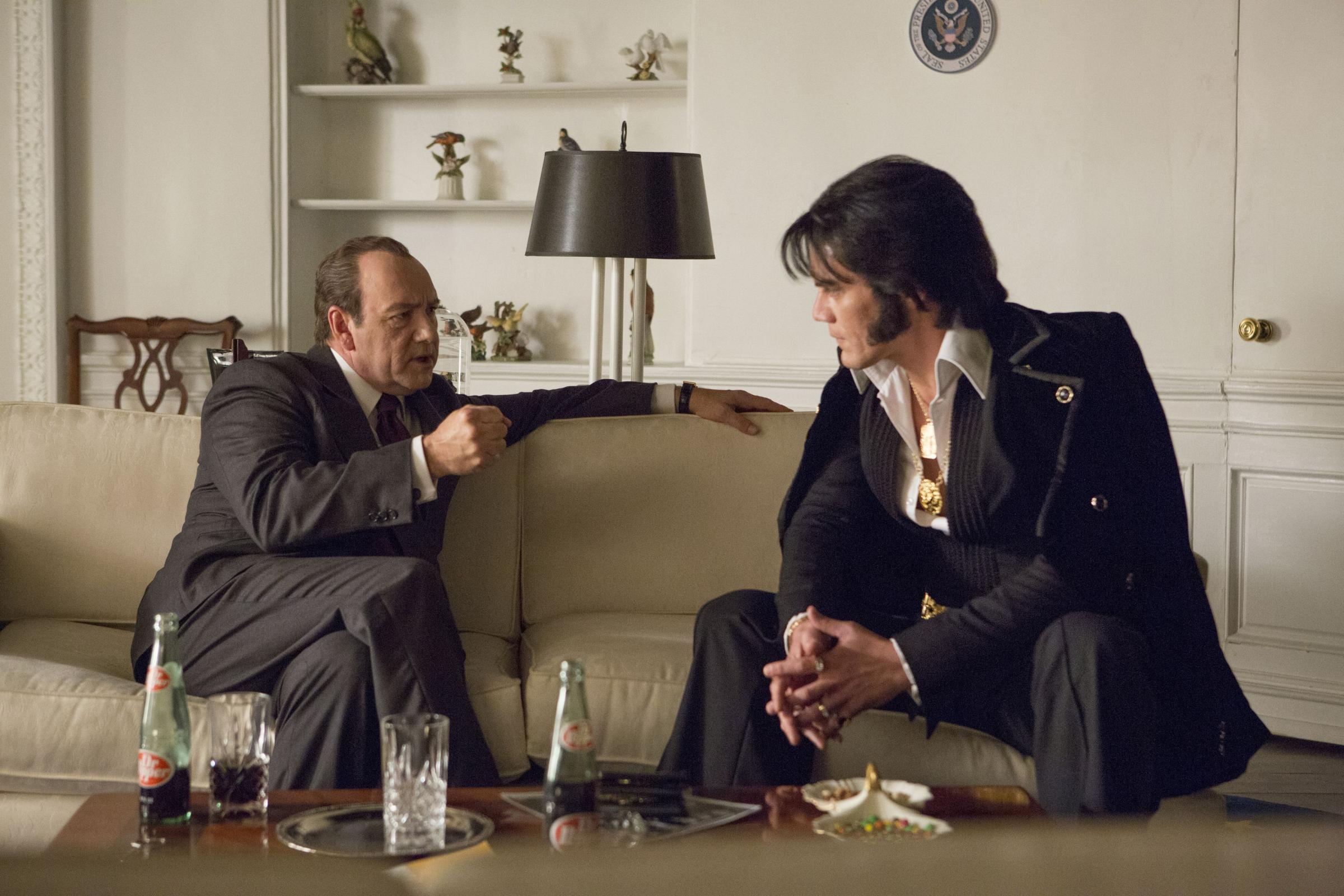 ALL SHOOK UP: Kevin Spacey stars as Richard Nixon with Michael Shannon as Elvis
