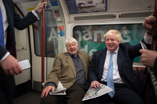 BACKING: Stanley Johnson with son, Boris