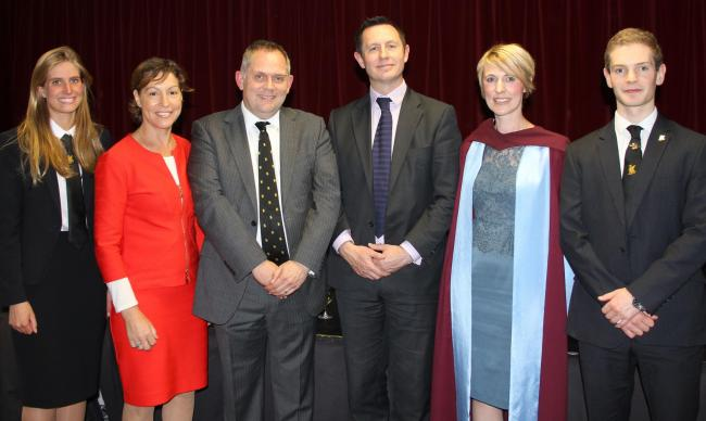 SPEECH DAY: Grace Walburn, Rebecca Pow MP, Mr Mark Edwards, Prof Geraint Jones, Dr Lorraine Earps and Oscar Webb