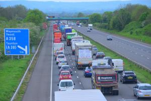 BACKLOG: The M5 last August when Abigail Wyatt from Trinity Close, Wellington, threatened to jump off the bridge