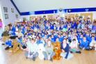 Teddy bear day at Thurlbear Primary School, with Russia-bound teachers Paul Melling, Julia Williams and Cathy Collings.