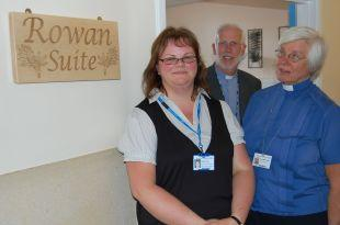 Bereavement midwife Keiley Tuck with chaplains the Rev Eric Holdstock and the Rev Mary Godin.