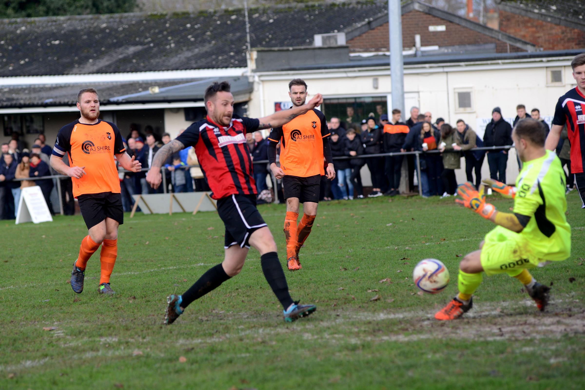 GOAL: Bishops Lydeard's Pat Sherwood in scoring action. Pic: Ash Magill