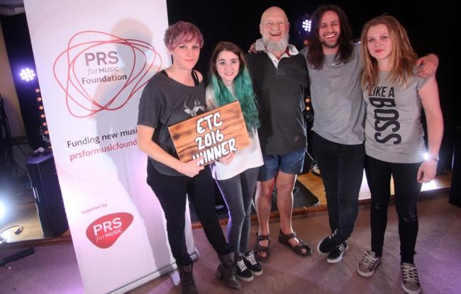 WINNERS: Last year's competition winners, She Drew The Gun, with Michael Eavis