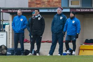 WOBBLE: Taunton Town boss (second from right) will be looking for a return to form on Tuesday. Pic: Tim Norbury