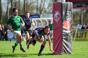 TREBLE: Freddie Fraser scores the first of his three tries against London Irish Wild Geese. Pic: Alexander Davidson