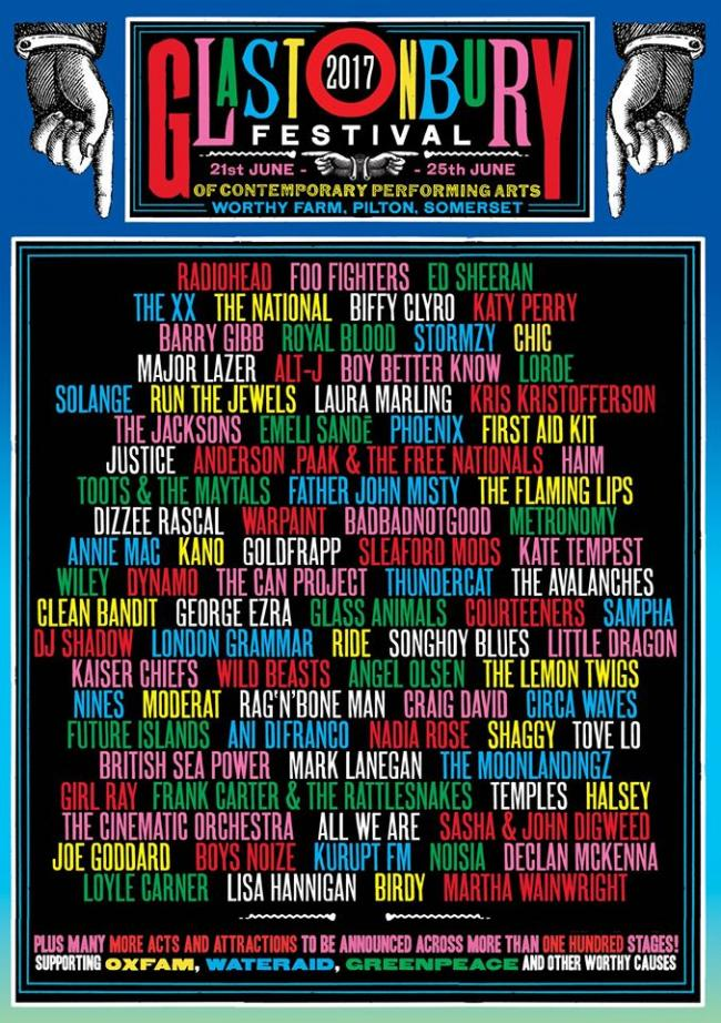 REVEALED: The first line-up poster for this year's Glastonbury Festival