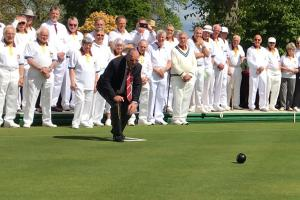 OPENING: Taunton Bowling Club president Richard Tomlinson throws the first bowl of 2017.