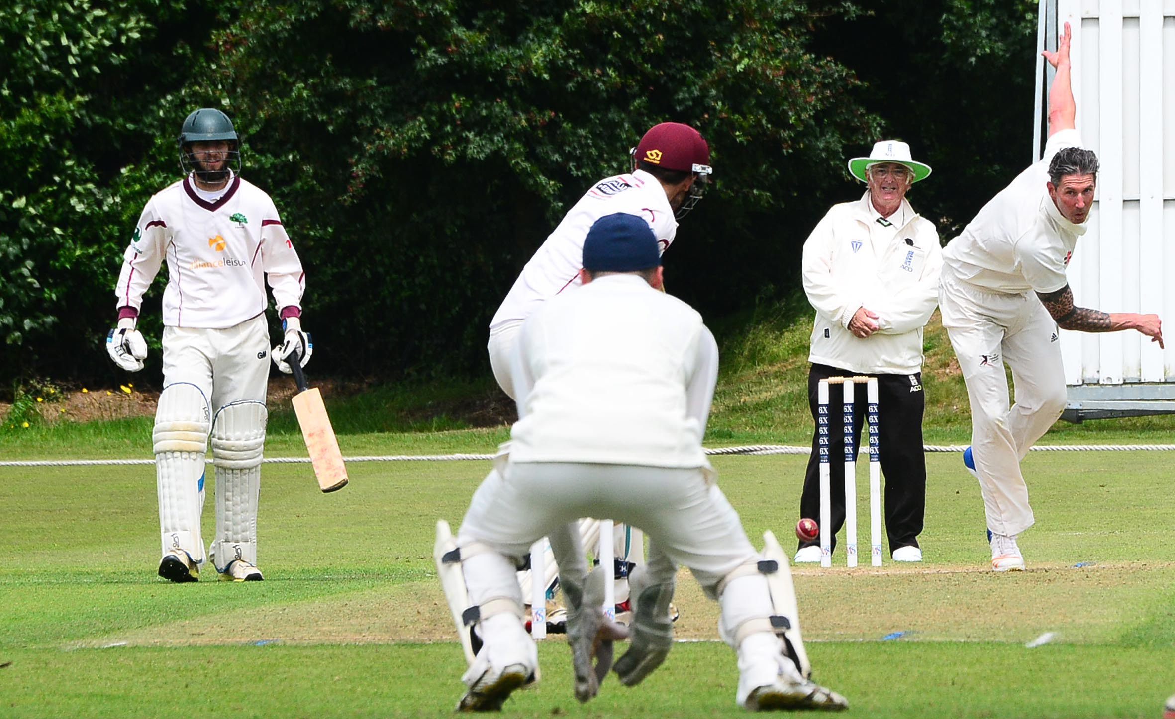 VICTORY: Ben Phillips (above, bowling) helped Taunton to a three-wicket win against Shapwick & Polden on Saturday
