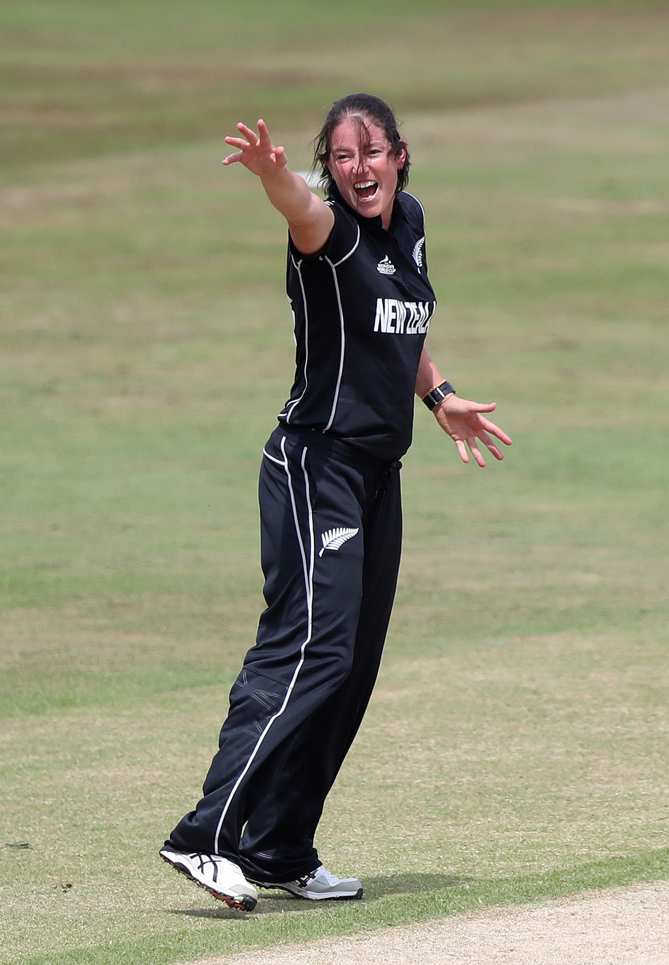 HOWZAT: New Zealand bowler Holly Huddleston helped dismiss West Indies for 150 in Taunton. Pic: PA Wire