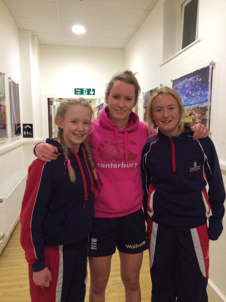 PARTNERSHIP: Western Storm's Jodie Dibble (centre), with Beth Collier (left) and Lucy Ballard of Taunton School.