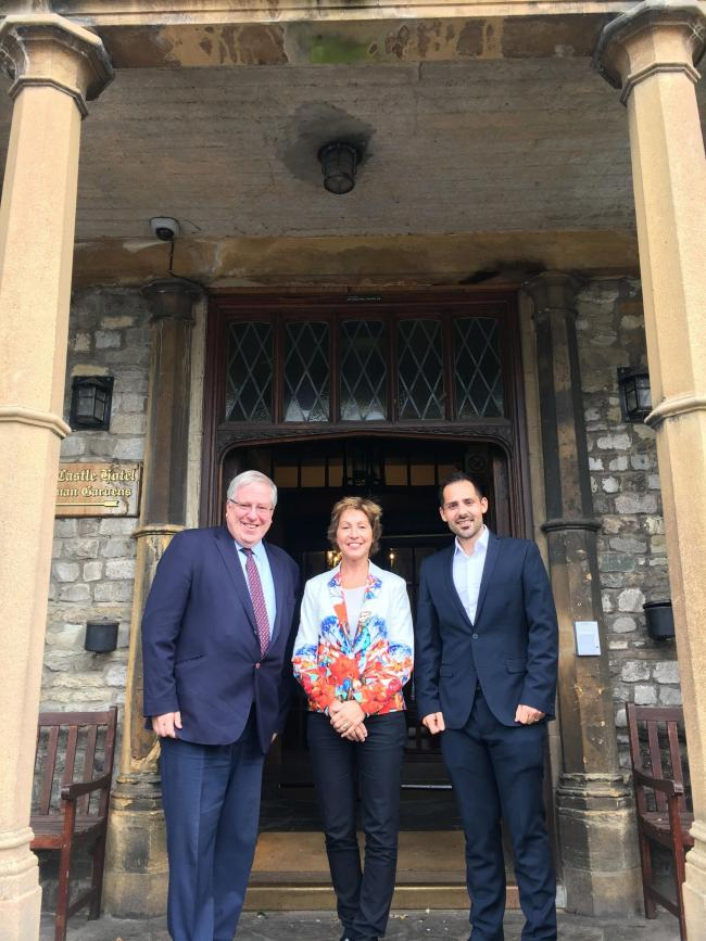 Sir Patrick McLoughlin, Rebecca Pow and Giuseppe Fraschini, chairman of Taunton Deane Conservatives