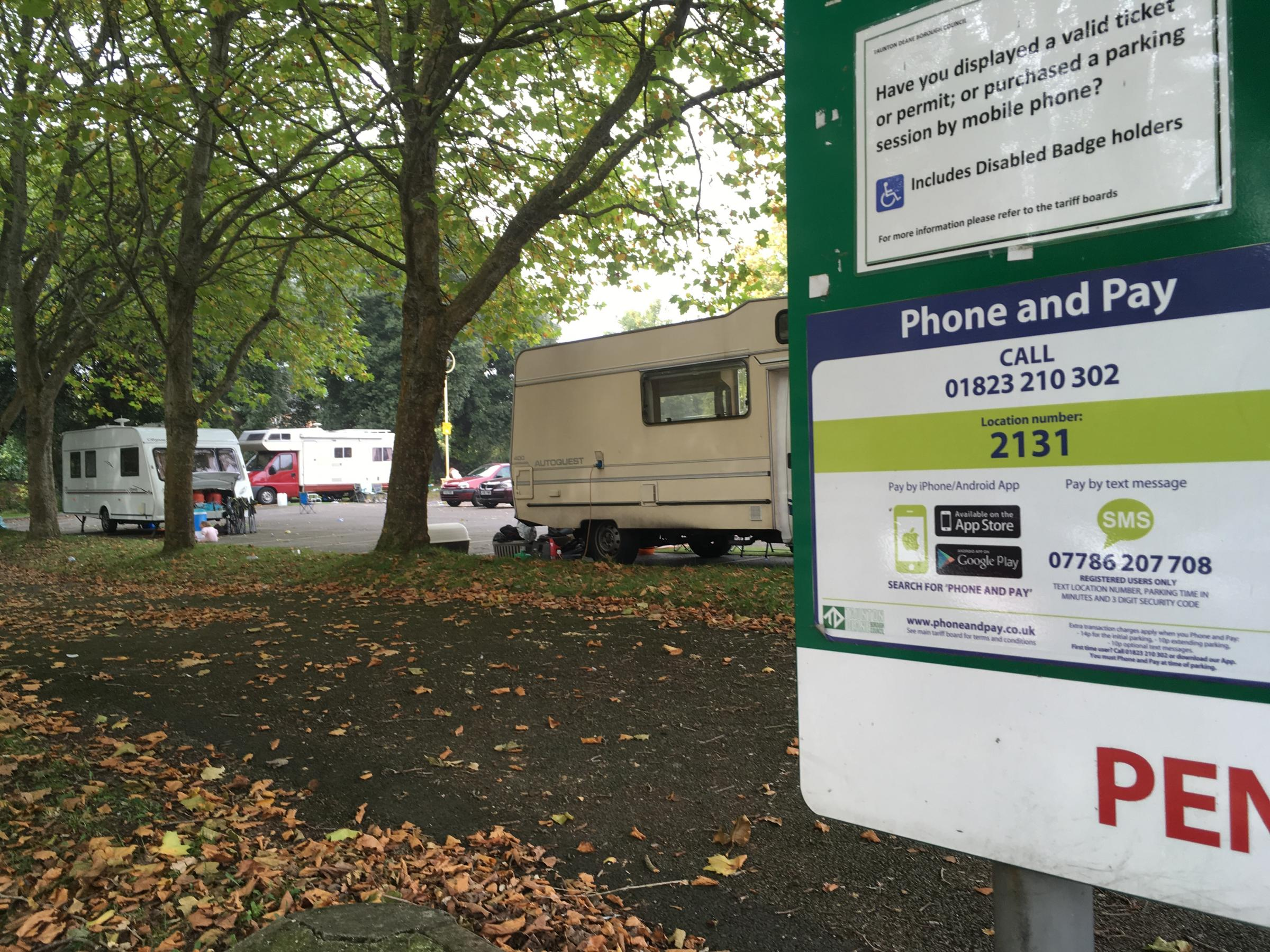 Travellers set up camp near Taunton council offices