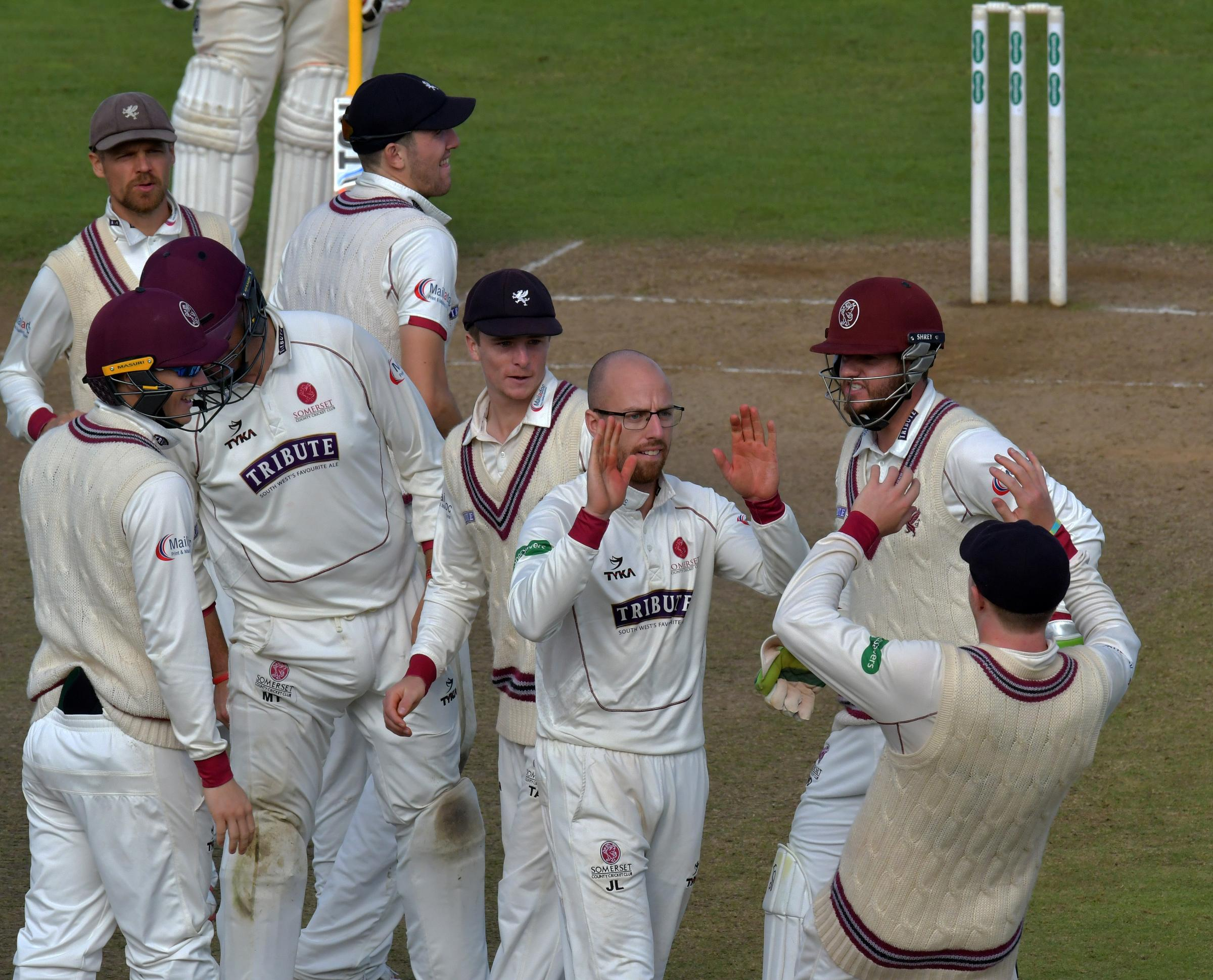 JUBILANT: Somerset secured survival with a thumping win over Middlesex.